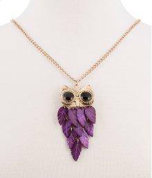 BTQ Purple Stone Owl Necklace on Gold Chain