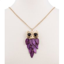 BTQ Purple Stone Owl Necklace on Gold Chain