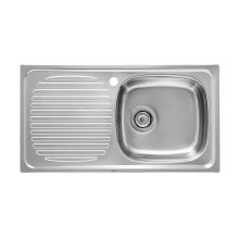 Stainless steel single bowl kitchen sink and left drainer