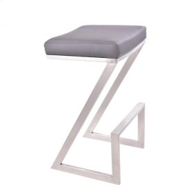 """Armen Living Atlantis 26"""" Backless Barstool in Brushed Stainless Steel finish with Gray Pu upholstery"""