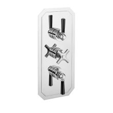 Waldorf 3000 Thermostatic Valve Trim with Integrated Volume Control/Two-way Diverter and Black Handles - Polished Chrome