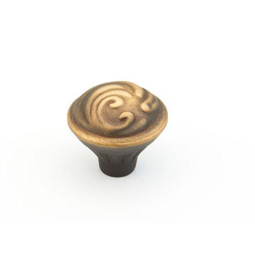 "Solid Brass Arcadia, Round Knob, 1-3/8"" diameter, Antique Light Brass finish"