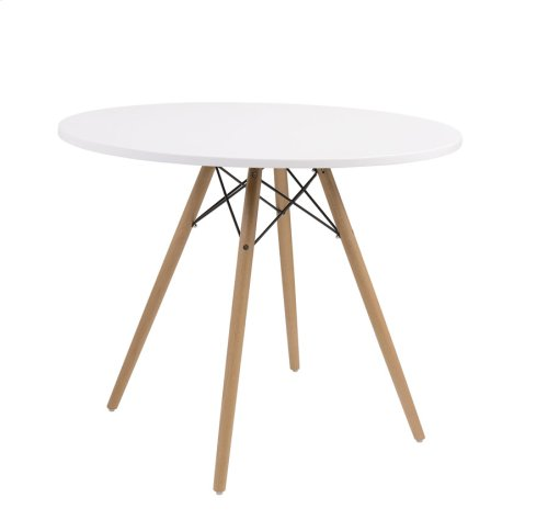 """Complete Table-round White Top 40""""&wood Legs-metal Struts Rta"""