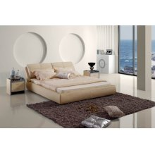 Modrest Contemporary Beige Leatherette Bed
