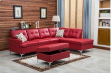 Mira Red Sectional with Storage Ottoman