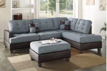 3-pcs Sectional Sofa Including Ottoman