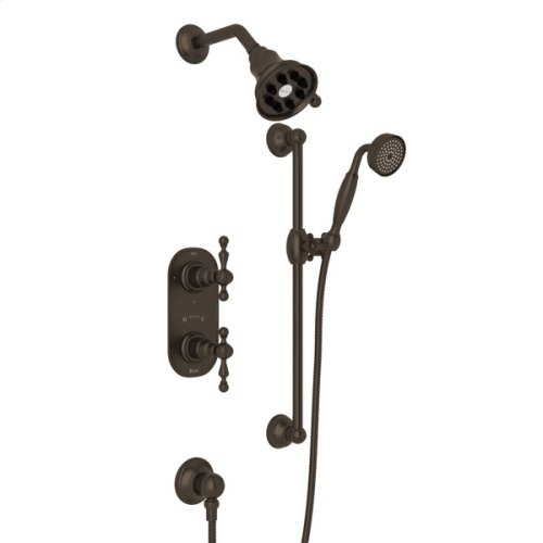 Tuscan Brass Arcana Thermostatic Shower Package with Arcana Series Only Ornate Metal Lever