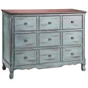 Hartford 3-drawer Chest In Aged Blue With Dark Top