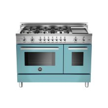 48 6-Burner + Griddle, Electric Self-Clean Double Oven Azzurro