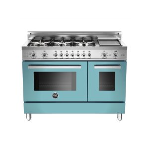 Bertazzoni48 6-Burner + Griddle, Electric Self-Clean Double Oven Azzurro