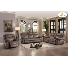 Double Glider Reclining Love Seat with Center Console, Receptacles and USB Ports