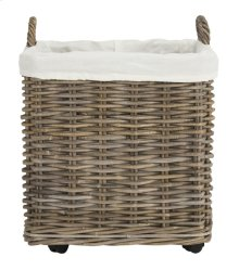 Amari Rattan Square Set of 2 Baskets With Wheels - Natural