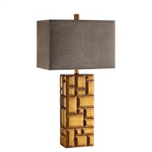 Swanson Table Lamp In Golden Tan Beveled Geometric Pattern With Brown Linen Hardback Shade
