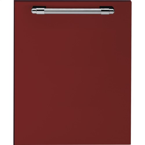Dishwasher panel with handle Red matte, Chrome