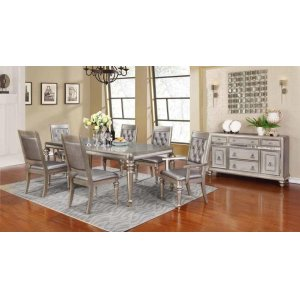 Bling Game Hollywood Glam Metallic Platinum Dining Table