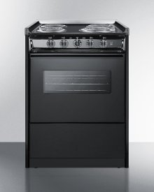 """24"""" Wide Slide-in Electric Range In Black With Oven Window, Light, and Lower Storage Compartment; Replaces Tem619rw"""