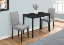 DINING SET - 3PCS SET / BLACK / GREY LINEN PARSON CHAIRS