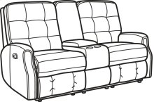Devon Leather Reclining Loveseat with Console and without Nailhead Trim