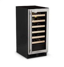 "15"" High Efficiency Single Zone Wine Cellar - Panel Overlay Frame Glass Door - Integrated Left Hinge"
