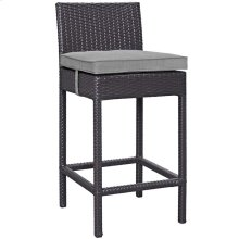 Convene Outdoor Patio Upholstered Fabric Bar Stool in Espresso Gray