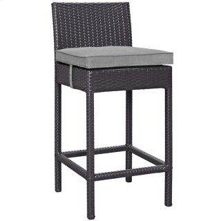 Convene Outdoor Patio Fabric Bar Stool in Espresso Gray