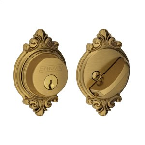 Single Cylinder Deadbolt with Brookshire Trim - Antique Brass Product Image