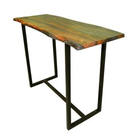 Industrial Gunmetal Live-edge Bar Table