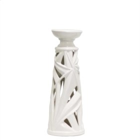 White Palm Leaf Candle Holder, 15.5""