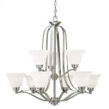 Langford 9 Light Chandelier with LED Bulbs Brushed Nickel