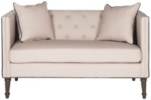Sarah Tufted Settee With Pillows - Taupe / Black / Espresso