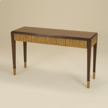 WEBSTER WALNUT FINISHED CONSOL E TABLE WITH GOLD GILDED ACC ENTS