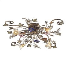 Brillare Collection 4-Light Semi-Flush with Multi-Colored Crystal Flowers