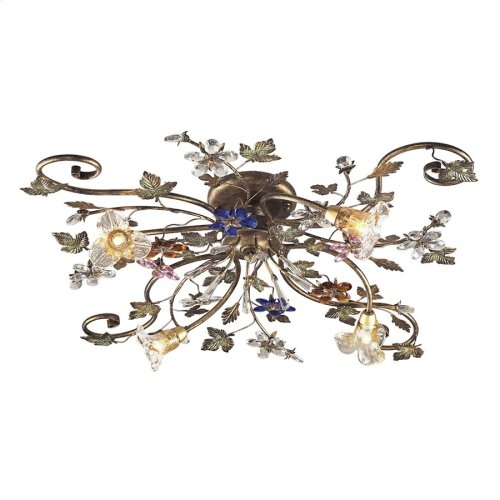 Brillare 4-Light Semi Flush in Bronzed Rust with Multi-colored Floral Crystals