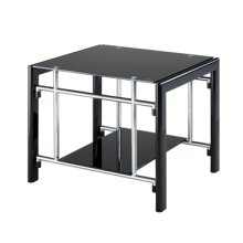 "Gloss Black & ""Gloss Silver"" Rectangular End Table"