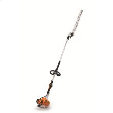 A lightweight, long reach hedge trimmer with a long blade and a low-emission engine.