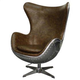 Axis PU Swivel Rocker Chair Aluminum Frame, Distressed Mocha