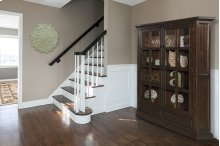 Tuscan Retreat® Double Door Cabinet (glass Front and Two Drawers) - Rustic Mahogany