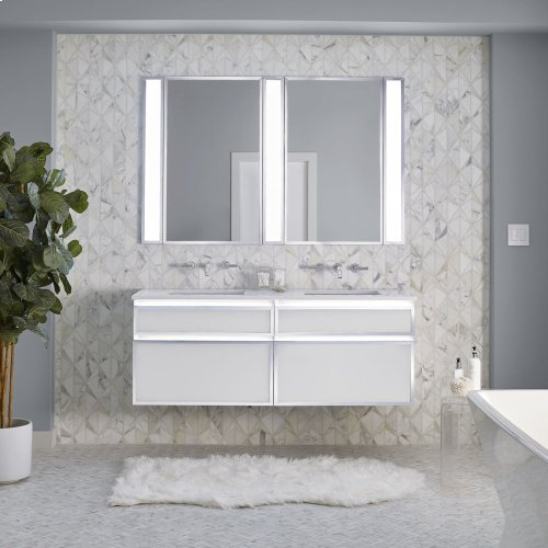 "Profiles 24-1/8"" X 7-1/2"" X 18-3/4"" Framed Slim Drawer Vanity In Satin White With Matte Black Finish, Slow-close Plumbing Drawer and Selectable Night Light In 2700k/4000k Color Temperature"
