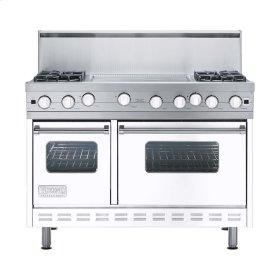 "White 48"" Open Burner Range - VGIC (48"" wide, four burners 24"" wide griddle/simmer plate)"
