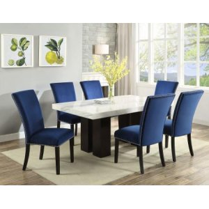 Steve Silver Co.Camila 7 Piece White Marble Top Rectangular Dining(Table & 6 Side Chairs)