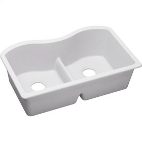 "Elkay Quartz Classic 33"" x 20"" x 9-1/2"", Equal Double Bowl Undermount Sink with Aqua Divide, White"