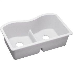 "Elkay Quartz Classic 33"" x 20"" x 9-1/2"", Equal Double Bowl Undermount Sink with Aqua Divide, White"