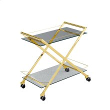 """Two Tier 31"""" Rolling Bar Cart,gold"""