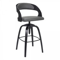 Abby Contemporary Adjustable Barstool in Black Brushed Wood Finish and Grey Faux Leather Product Image