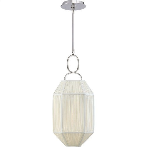 Visual Comfort KW5315PN-L Kelly Wearstler Forza 1 Light 11 inch Polished Nickel Lantern Pendant Ceiling Light, Small Gathered