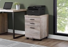FILING CABINET - 3 DRAWER / TAUPE WOOD GRAIN ON CASTORS
