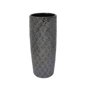"""Ceramic 12.5"""" Weave Vase, Gray"""