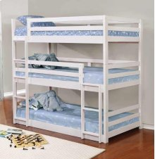 Twin Triple Bunkbed (White Wood)