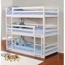 Sandler White Three-bed Bunk Bed