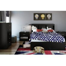 Mates Bed and Bookcase Headboard Set - Pure Black